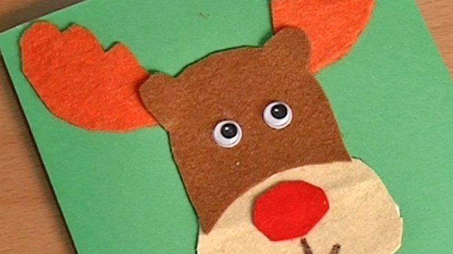 cmo hacer una postal de navidad con un reno de fieltro - Como Hacer Una Postal De Navidad