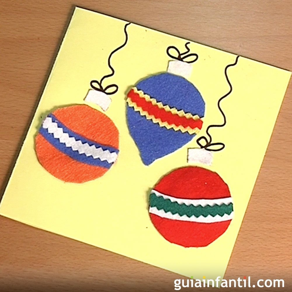 Felicita la navidad con una tarjeta con bolas de fieltro - Bolas de navidad para ninos ...