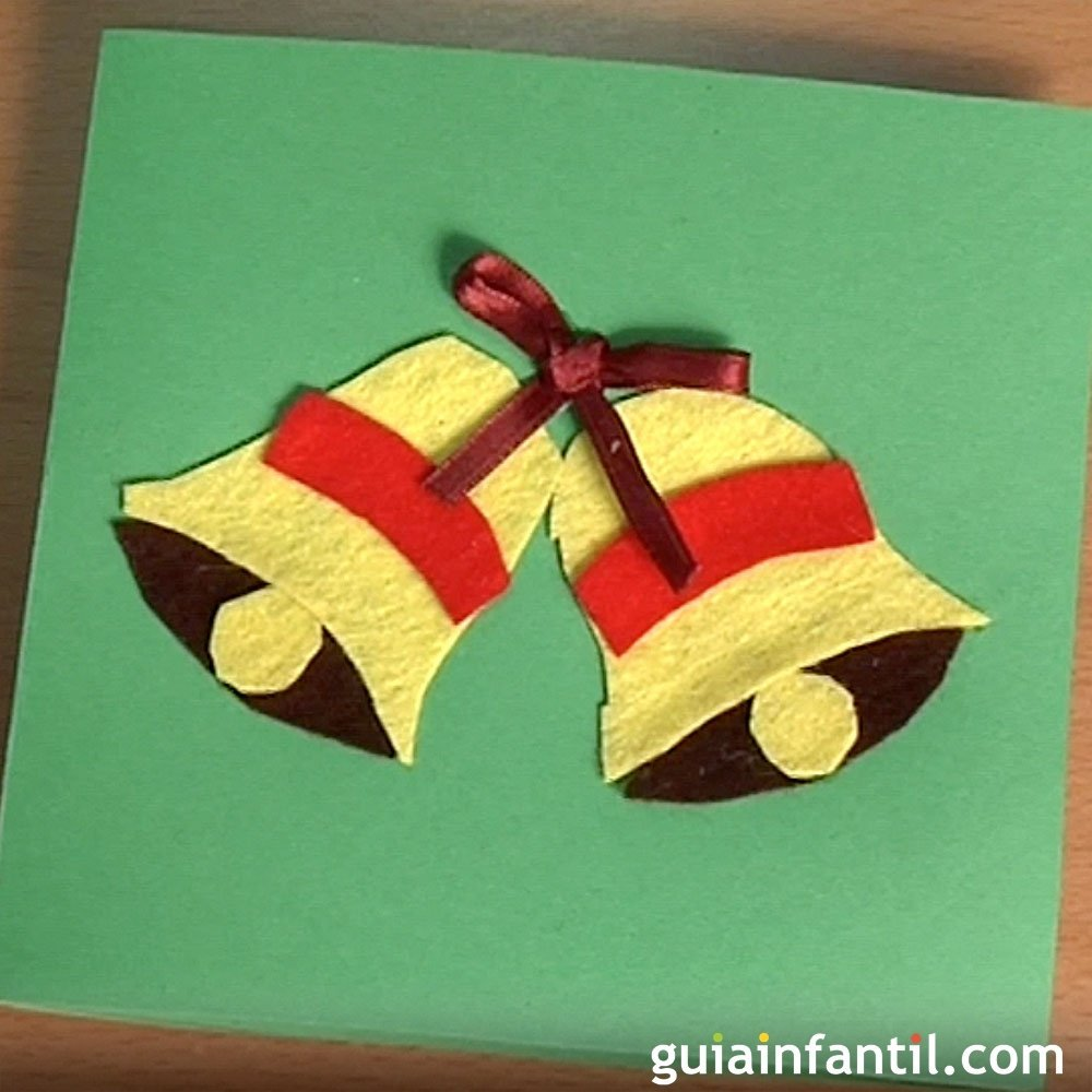 Postal de navidad con campanas haz tus propias tarjetas - Tarjetas navidenas para hacer ...