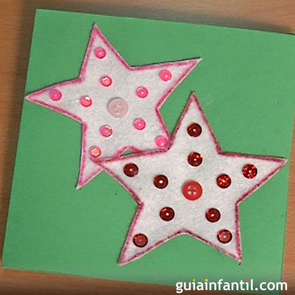 Felicita la navidad con una tarjeta con estrellas - Tarjeta de navidad para ninos manualidades ...