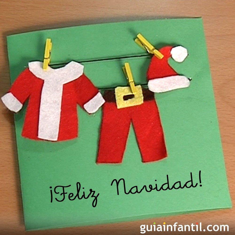 Tarjeta con la ropa de papa noel manualidades para ni os for Tarjetas de navidad hechas por ninos