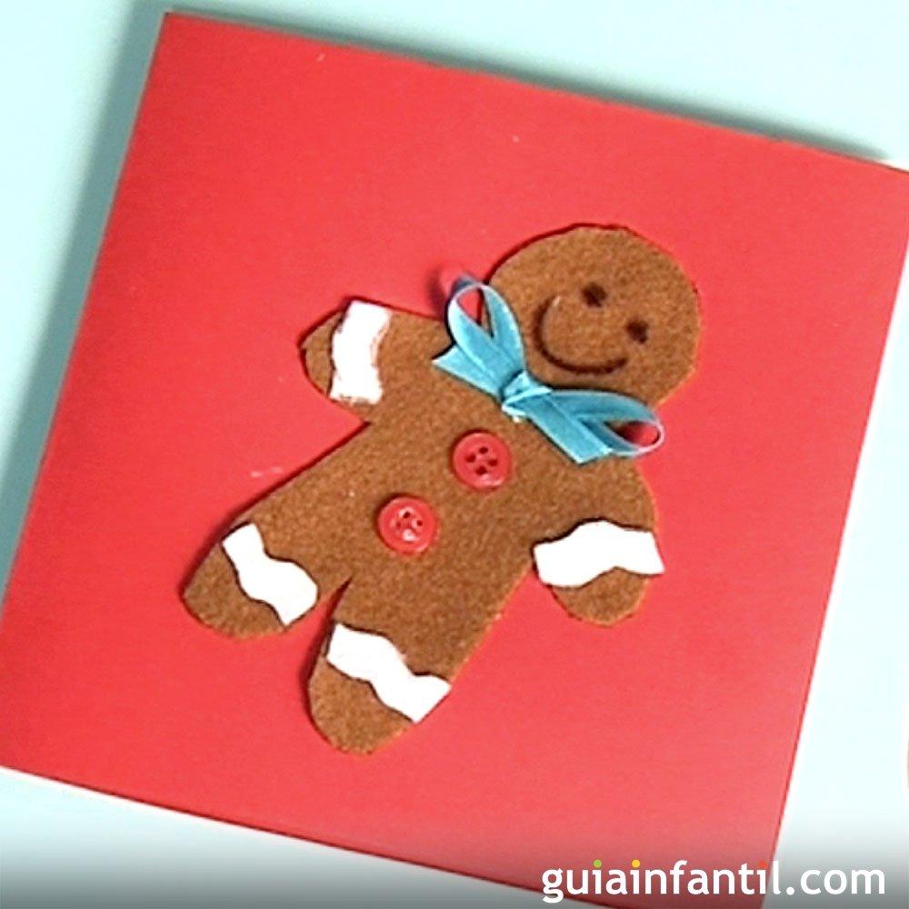 Tarjeta de felicitaci n con mu eco de jengibre en fieltro - Manualidades tarjeta navidena ...