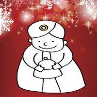 Dibujo para niños navideño. Rey Mago Baltasar