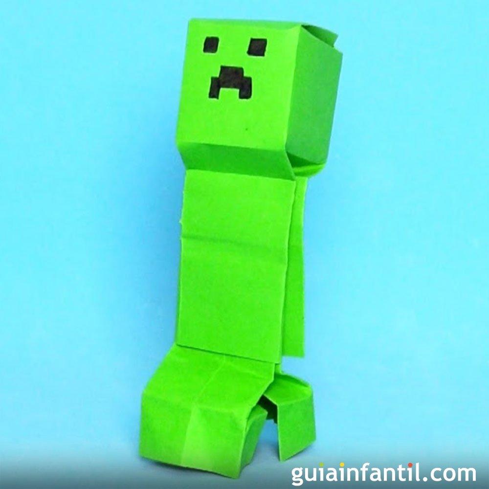 c243mo hacer un creeper de minecraft de origami