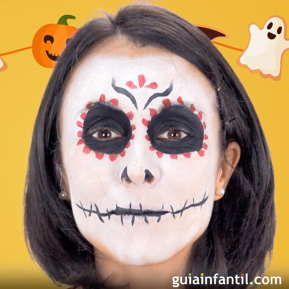 C mo hacer un maquillaje de catrina para disfrazar a los ni os - Como pintar a una nina de bruja para halloween ...