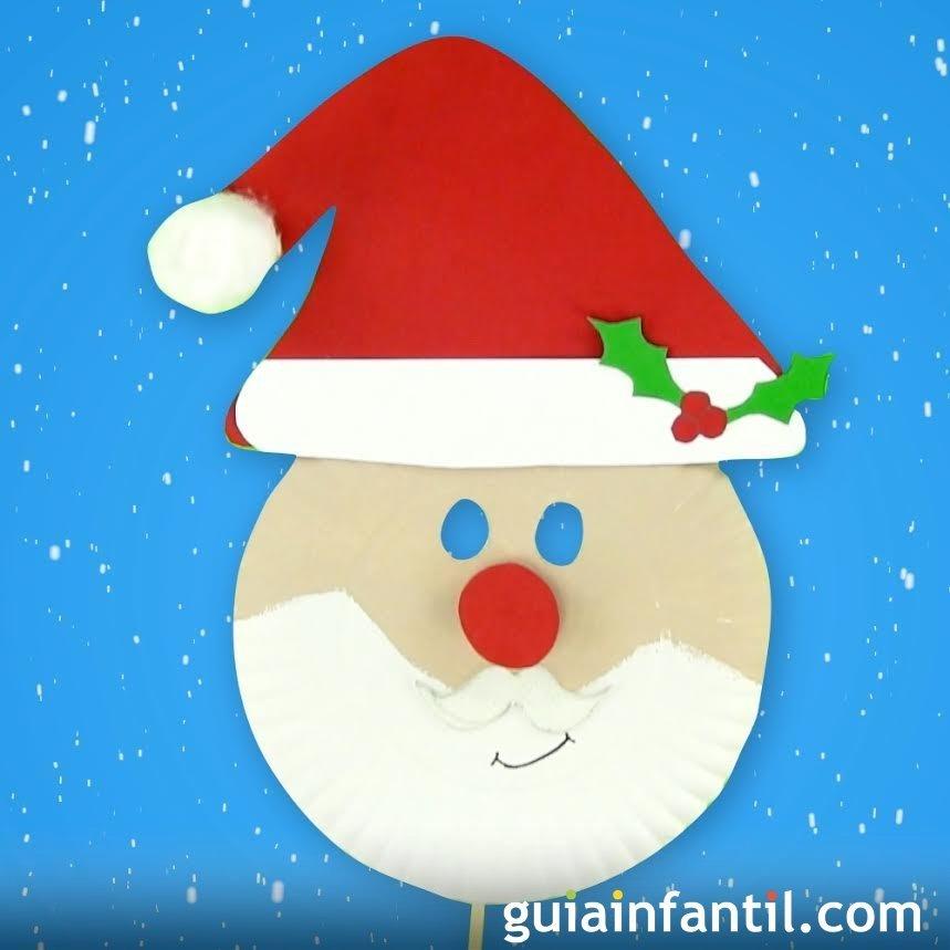 C mo hacer una m scara de pap noel para navidad - Como hacer figuras de navidad ...