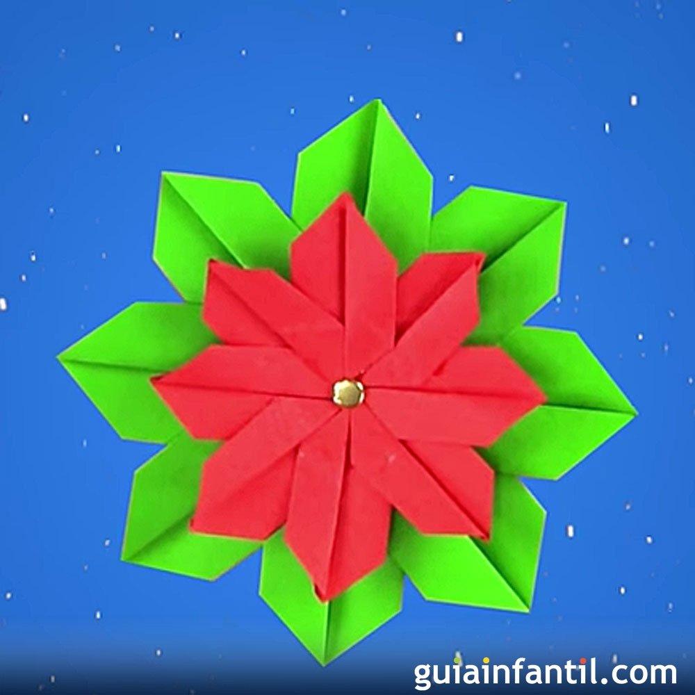 C mo hacer una flor de pascua de origami para navidad for Adornos navidenos origami paso a paso