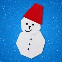 Cómo hacer un muñeco de nieve de origami para Navidad