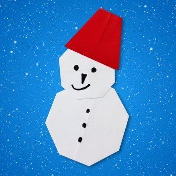 Origami de muñeco de nieve