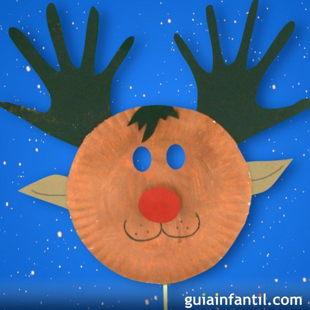C mo hacer una m scara de rodolfo el reno para navidad - Como hacer manualidades navidenas para ninos ...
