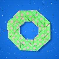 Cómo hacer una corona de Navidad de origami