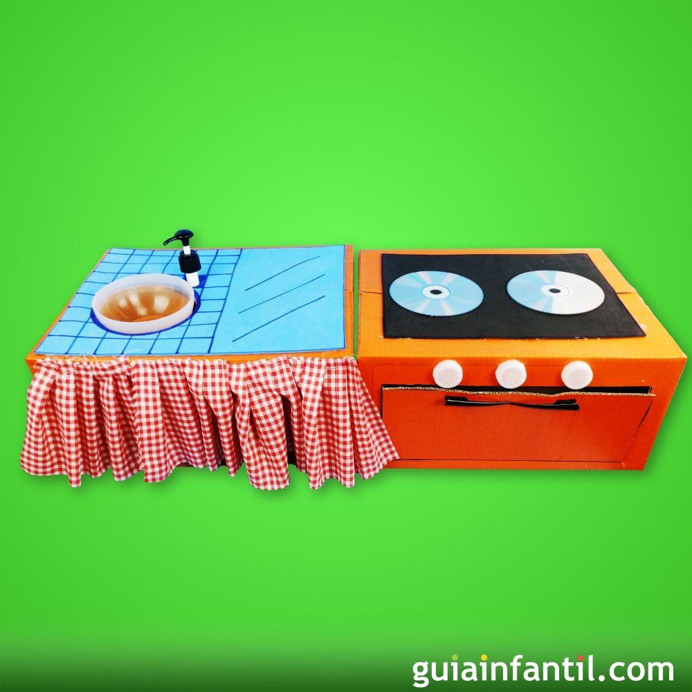C mo hacer una cocina de juguete con cart n para los ni os - Hacer una cocina ...