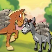 El caballo y el asno. Fábula de Esopo para niños