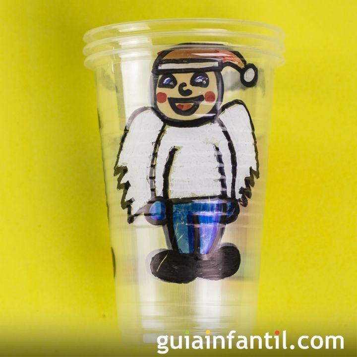 Juego Con Vasos De Plastico Para Navidad Manualidades De Reciclaje