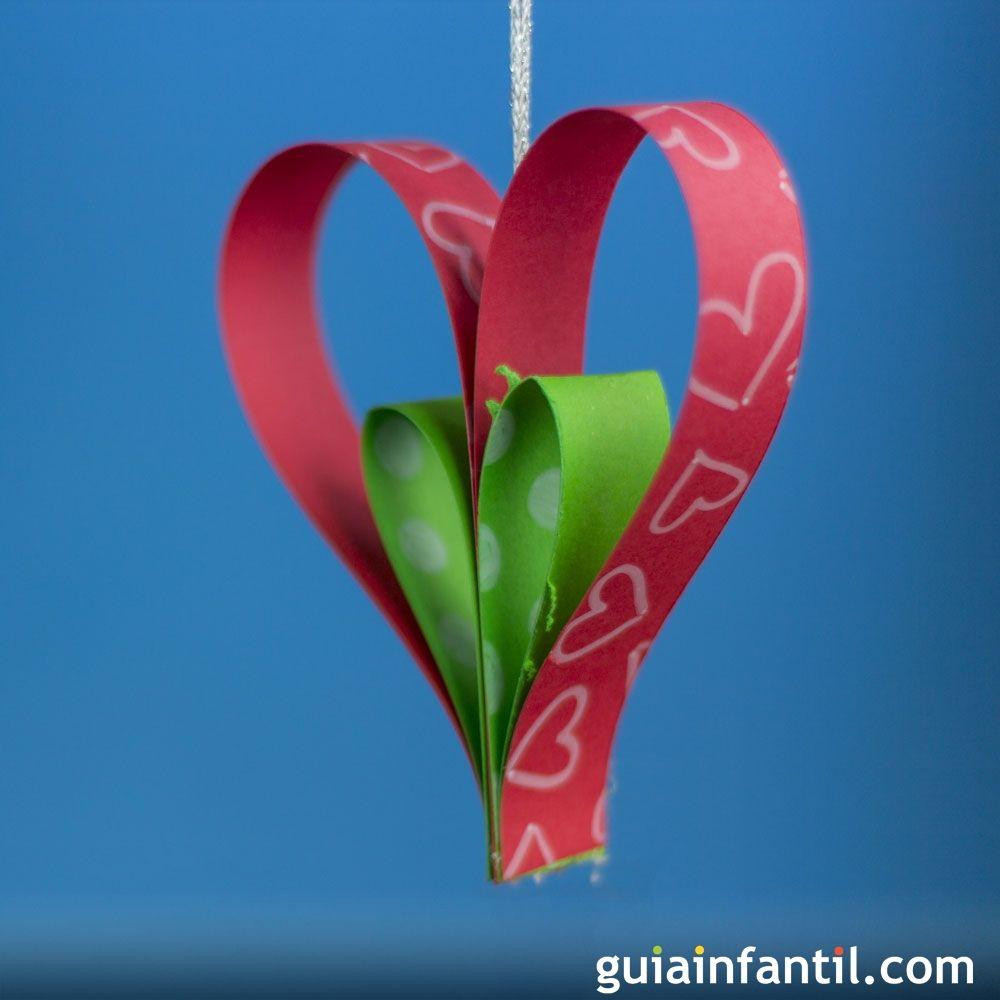 Adorno de corazón para el árbol de Navidad. Manualidades de ...