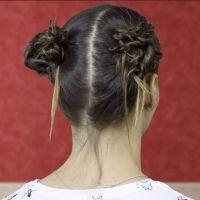 Peinado con moños o chongos muy sencillo para niñas