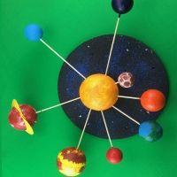 Sistema solar con bolas de porexpán para el colegio. Manualidades sencillas para niños