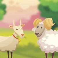 Fábula Las dos cabras para niños. Cuentos cortos con moraleja