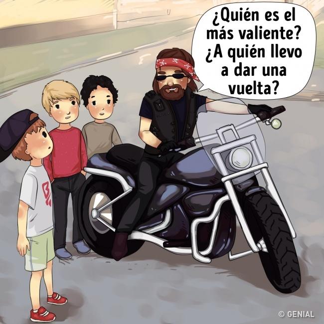 Secuestro de niños. Montar en moto