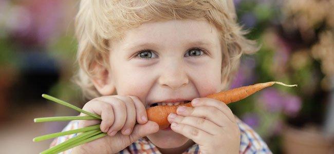 NIño muerde zanahoria