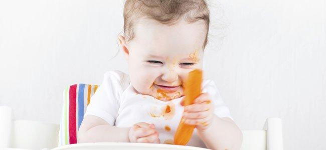 Bebé con zanahoria en mano