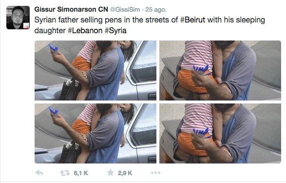 Un papá refugiado sirio en Líbano vende bolis con su hija