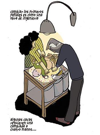 Cambiar el pañal al bebé