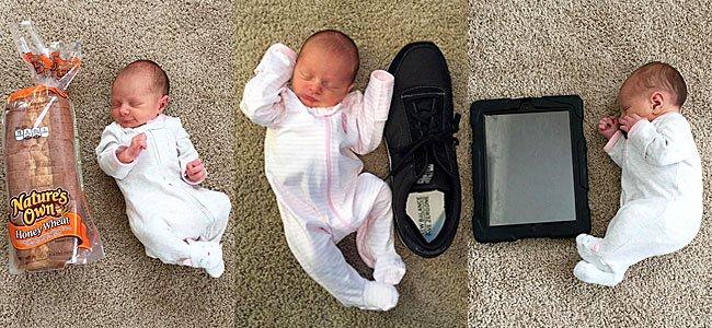 Fotos de bebé prematuro comparadas con objetos cotidianos