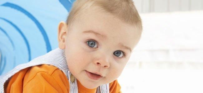 Bebé rubio gatea