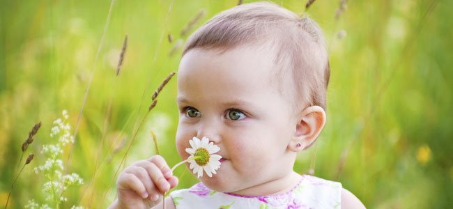 Bebé huele flor