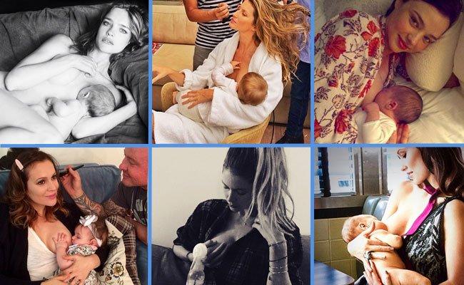 Las modelos famosas dan el pecho a sus bebés