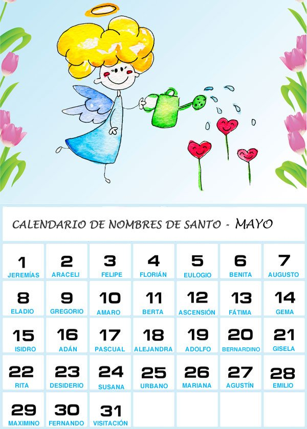 Calendario Santoral 2019.Calendario De Los Nombres De Santos De Mayo