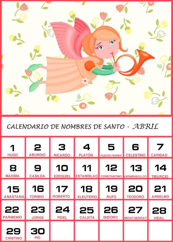 Calendario Santoral 2019.Calendario De Los Nombres De Santos De Abril