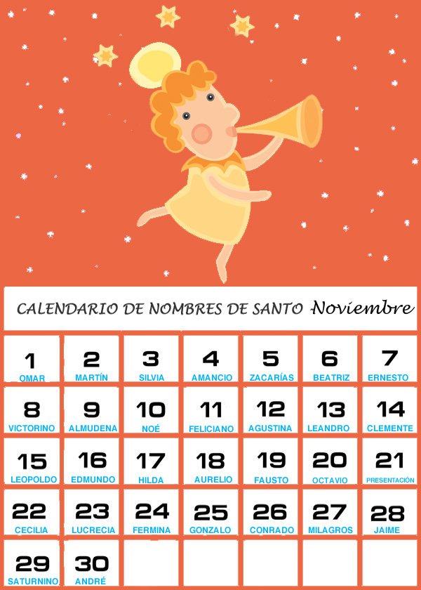 Calendario de los nombres de santos del mes de Noviembre
