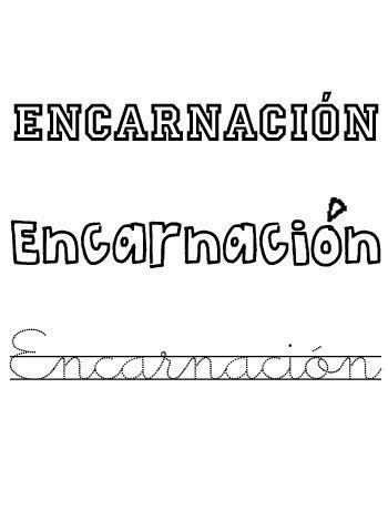 Encarnación. Nombres para niñas