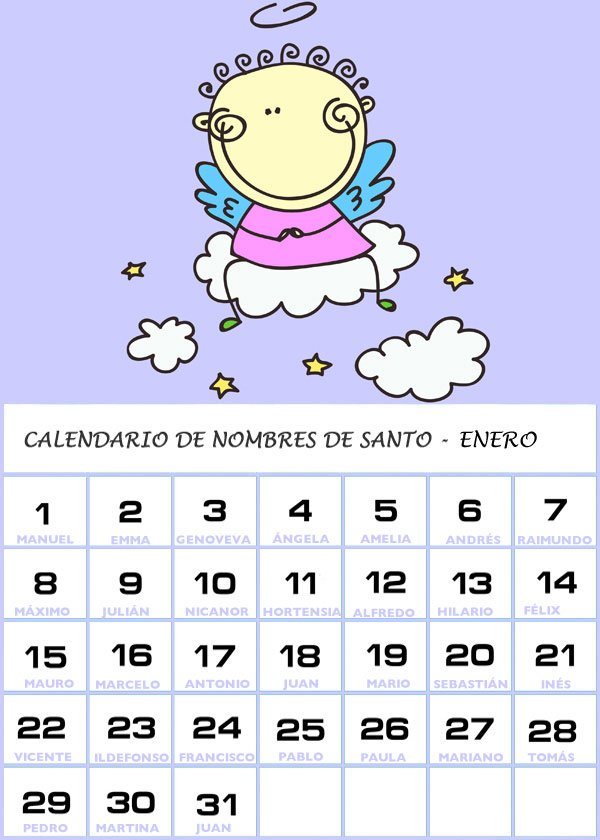 Calendario Santos.Calendario De Los Nombres De Santos De Enero