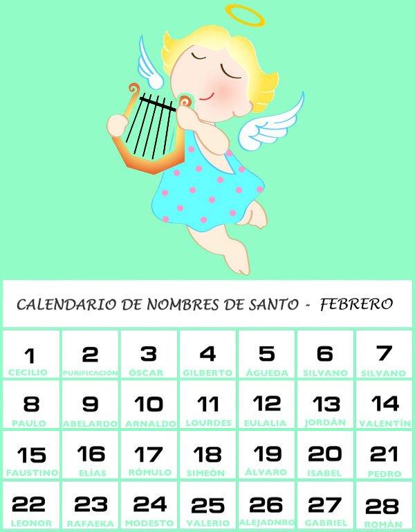 Calendario de los nombres de santos de Febrero