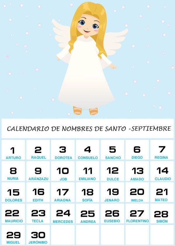 Calendario de los nombres de santos del mes de Septiembre