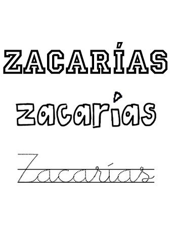 Zacarías. Nombres para niños