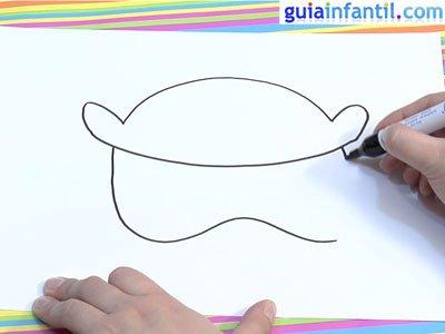 Dibujar una careta de búho. Paso 1.