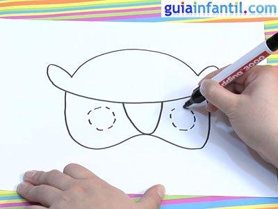 Dibujar una careta de búho. Paso 2.