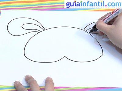 Dibujar un antifaz de conejo. Paso 1.