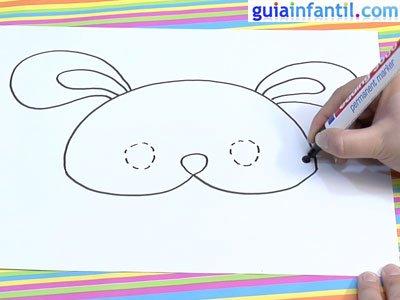 Dibujar un antifaz de conejo. Paso 3.
