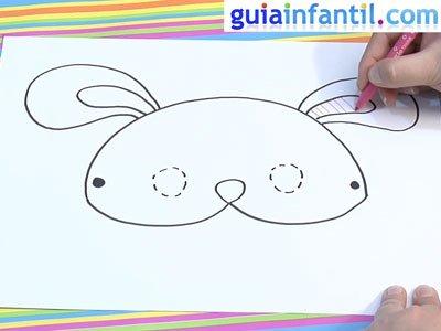 Dibujar un antifaz de conejo. Paso 4.