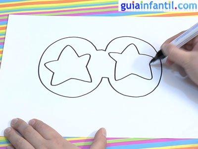 Antifaz para dibujar con estrellas. Paso 2.