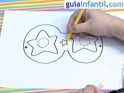 Antifaz para dibujar con estrellas. Paso 4.