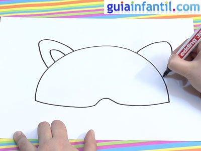 Antifaz de un mapache para dibujar. Paso 1.