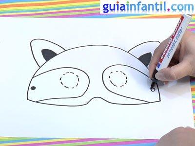 Antifaz de un mapache para dibujar. Paso 4.