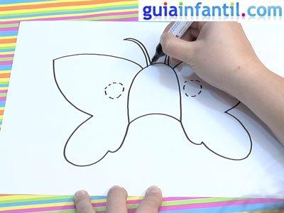 Antifaz de mariposa para colorear. Paso 2.