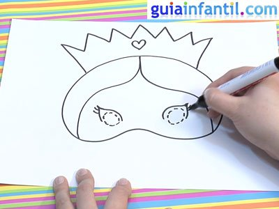 Antifaz de princesa para dibujar y pintar. Paso 3.
